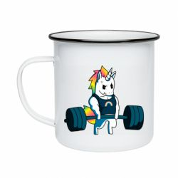 Кружка емальована The unicorn is rocking