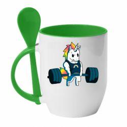 Кружка з керамічною ложкою The unicorn is rocking