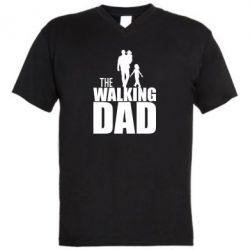 Мужская футболка  с V-образным вырезом The walking dad