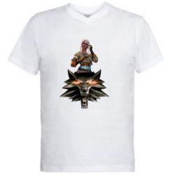 Мужская футболка  с V-образным вырезом The Witcher and Cyril