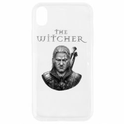 Чехол для iPhone XR The witcher art black and gray