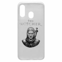 Чехол для Samsung A40 The witcher art black and gray