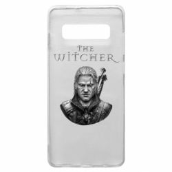 Чехол для Samsung S10+ The witcher art black and gray