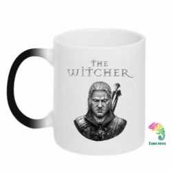 Кружка-хамелеон The witcher art black and gray