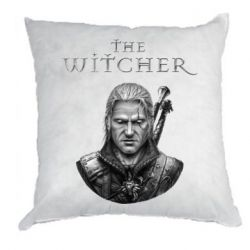 Подушка The witcher art black and gray