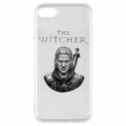 Чехол для iPhone 7 The witcher art black and gray