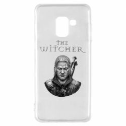 Чехол для Samsung A8 2018 The witcher art black and gray