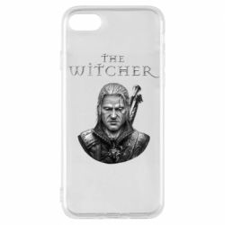 Чехол для iPhone 8 The witcher art black and gray