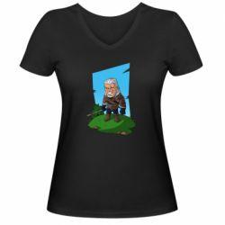 Женская футболка с V-образным вырезом The witcher chibi