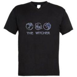 Мужская футболка  с V-образным вырезом The witcher pendants