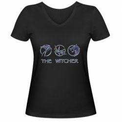 Женская футболка с V-образным вырезом The witcher pendants