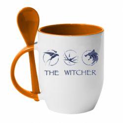 Кружка с керамической ложкой The witcher pendants