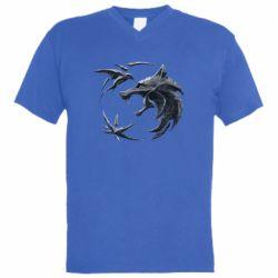 Мужская футболка  с V-образным вырезом The  witcher: wolf and swallow