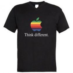 Мужская футболка  с V-образным вырезом Think different.