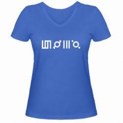 Купить 30 Seconds to Mars, Женская футболка с V-образным вырезом Thirty seconds to Mars Glyphs, FatLine
