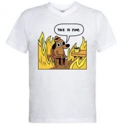 Мужская футболка  с V-образным вырезом This is fine