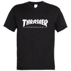 Мужская футболка  с V-образным вырезом Thrasher Magazine - FatLine