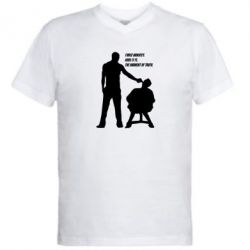 Мужская футболка  с V-образным вырезом Three minutes. - FatLine