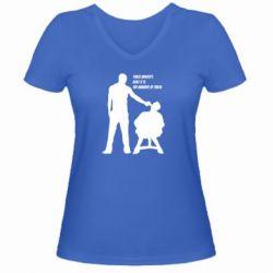 Женская футболка с V-образным вырезом Three minutes.