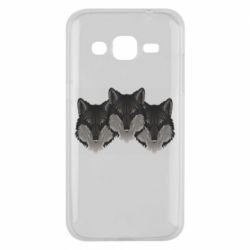 Чехол для Samsung J2 2015 Three wolf heads