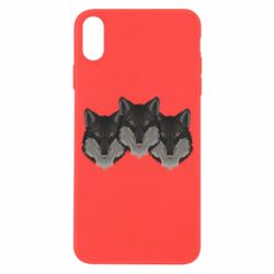 Чехол для iPhone X/Xs Three wolf heads