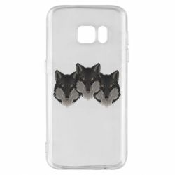 Чехол для Samsung S7 Three wolf heads