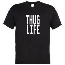 Мужская футболка  с V-образным вырезом thug life - FatLine