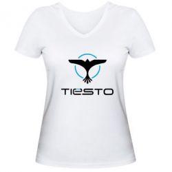Купить DJ Tiesto, Женская футболка с V-образным вырезом Tiesto Logo 3, FatLine