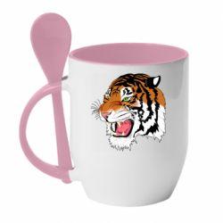 Кружка з керамічною ложкою Tiger roars