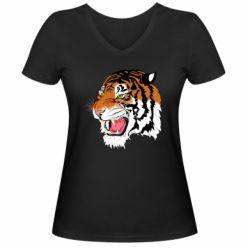 Жіноча футболка з V-подібним вирізом Tiger roars