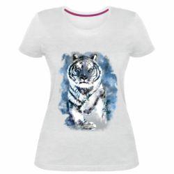 Женская стрейчевая футболка Tiger watercolor