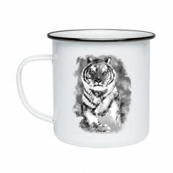 Кружка эмалированная Tiger watercolor