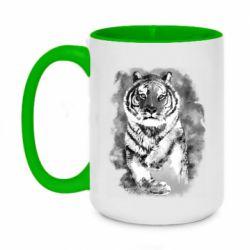 Кружка двухцветная 420ml Tiger watercolor