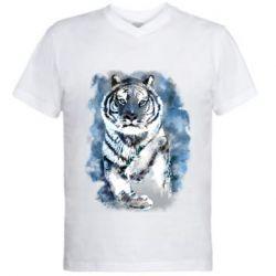 Мужская футболка  с V-образным вырезом Tiger watercolor