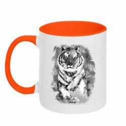 Кружка двухцветная 320ml Tiger watercolor