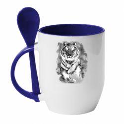 Кружка с керамической ложкой Tiger watercolor