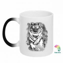 Кружка-хамелеон Tiger watercolor