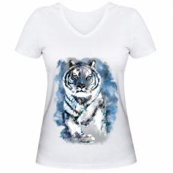 Женская футболка с V-образным вырезом Tiger watercolor