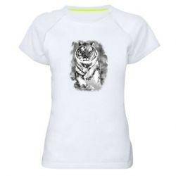 Женская спортивная футболка Tiger watercolor