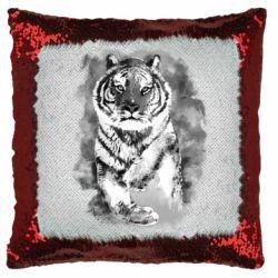 Подушка-хамелеон Tiger watercolor