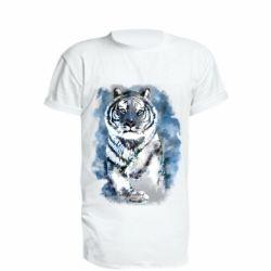 Удлиненная футболка Tiger watercolor