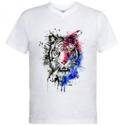 Мужская футболка  с V-образным вырезом Тигр Акварель