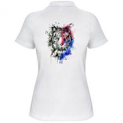 Женская футболка поло Тигр Акварель