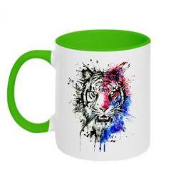 Кружка двухцветная Тигр Акварель