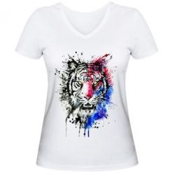 Купить Женская футболка с V-образным вырезом Тигр Акварель, FatLine