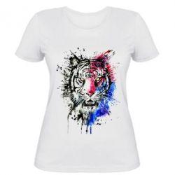 Женская футболка Тигр Акварель