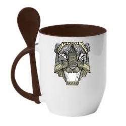 Кружка с керамической ложкой Тигр арт