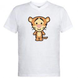 Мужская футболка  с V-образным вырезом тигрюля - FatLine