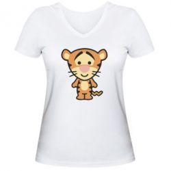 Женская футболка с V-образным вырезом тигрюля - FatLine