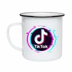 Кружка емальована Tik tock glitch ring